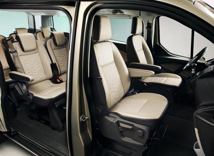La capacidad interior del Tourneo Custom Concept es de ocho pasajeros.