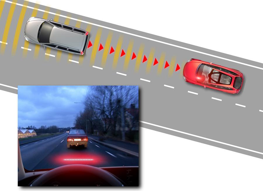 El City Safety de Volvo funciona gracias a un láser situado en la parte delantera del vehículo.