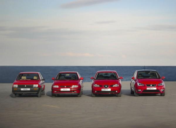 Las cuatro generaciones del Seat Ibiza juntas.