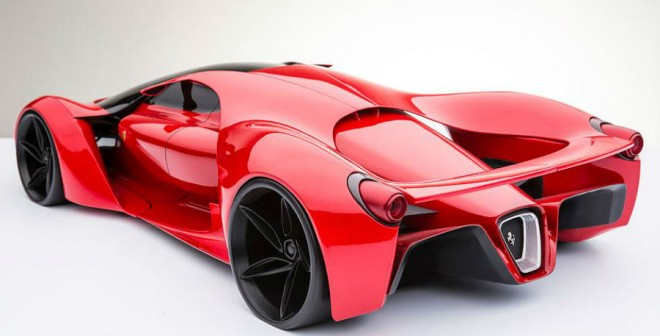 La zaga del Ferrari F80 Concept es más parecida a la de un coche de carreras del futuro.