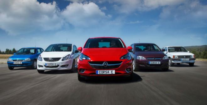 Las cinco generaciones del Opel Corsa, juntas en la misma imagen.