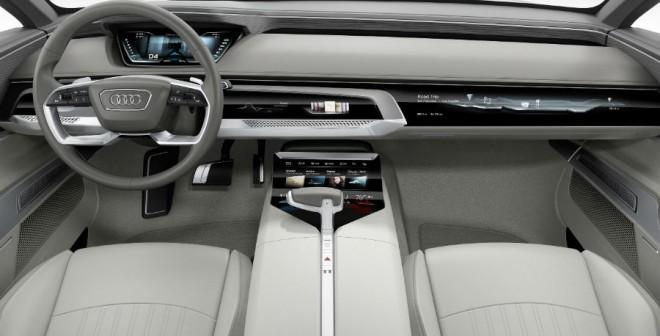 El interior del Audi Prologue es el típico de un concept car, muy futurista.