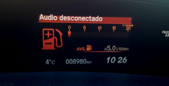 El consumo medio obtenido durante nuestra prueba fue de 5 l/100 km.