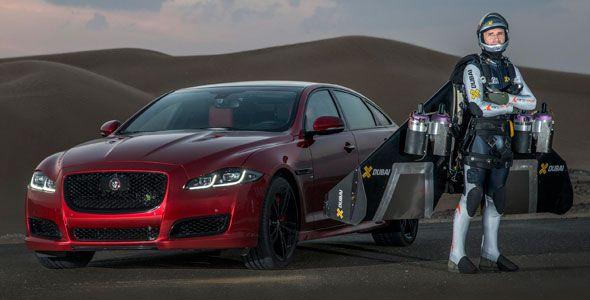 El nuevo Jaguar XJR se mide con el hombre pájaro, ¿quién es más rápido?
