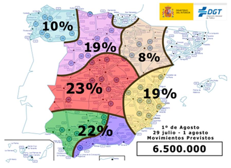 Porcentaje de desplazaientos previstos por la DGT.