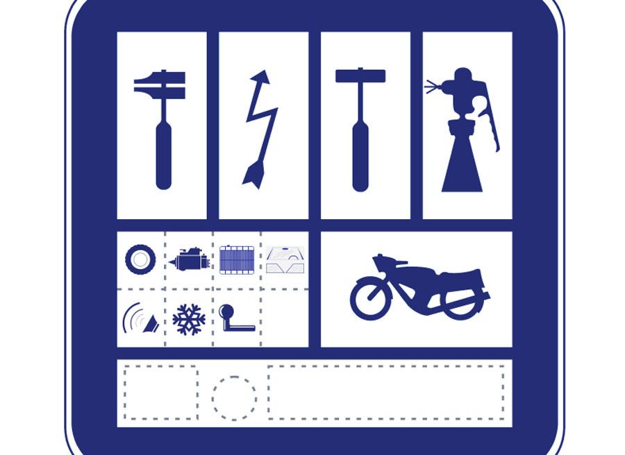Placa oficial que permite la actividad de un taller de automoción.