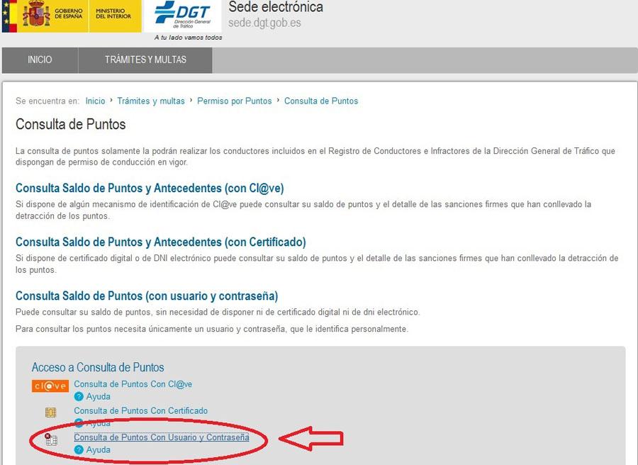 """Si es la primera vez que accedemos, hay que hacer click en """"Consulta de Puntos con Usuario y Contraseña""""."""