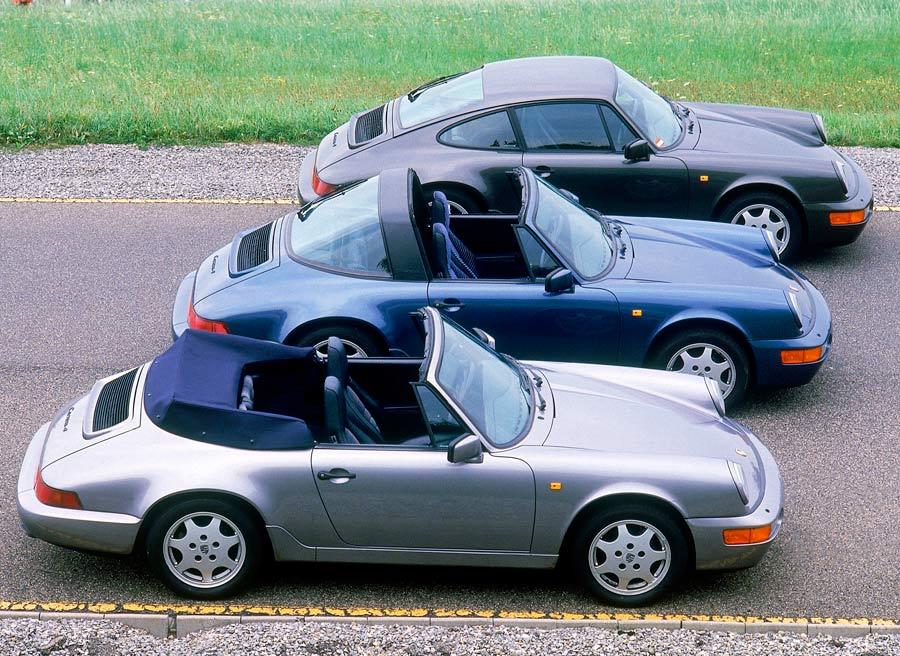 """Tres carrocerías del """"mismo"""" Porsche 911. Coupé -arriba-, Targa -en el centro- y Cabrio -abajo-."""