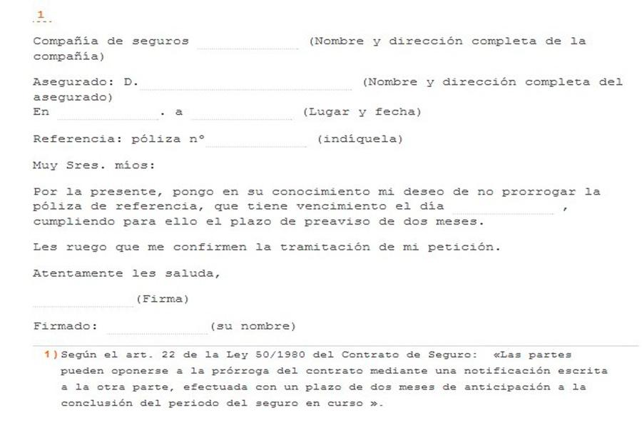 Ejemplo de carta de anulación del seguro de un coche.