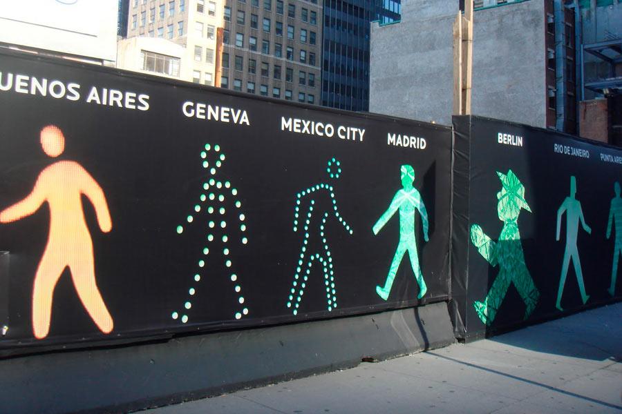Distintas figuras peatonales según la ciudad.
