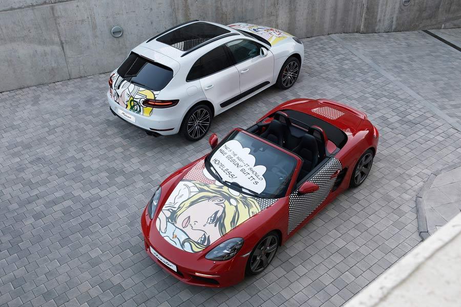 Un 718 Boxter y un Macan con vinilos de Lichtenstein acompañarán al convoy artístico.
