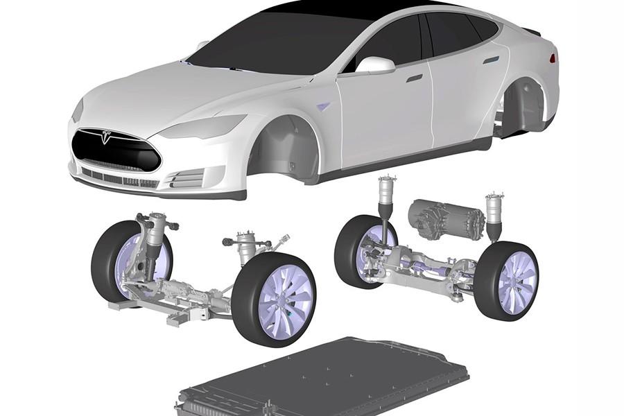 Esquema técnico del Tesla Model S.