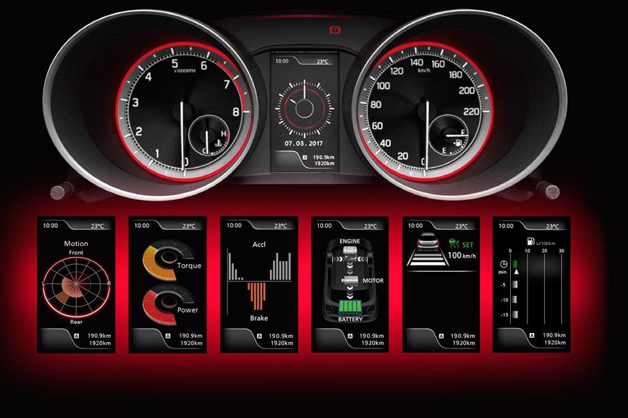 Distintas informaciones de la pantalla LCD situada en el panel de instrumentos de la versión GLX.
