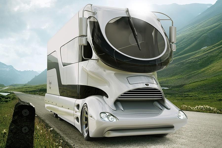 El diseño de esta autocaravana es realmente extravagante.