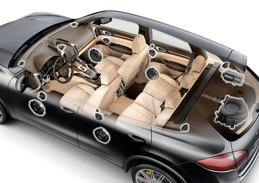 Distribución del equipo de música en el Porsche Cayenne