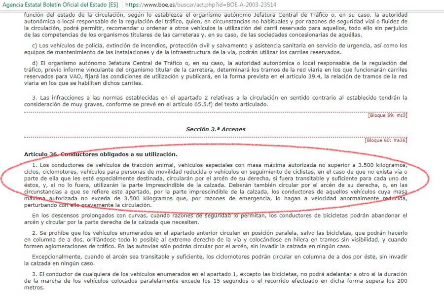 Reglamento General de Circulación, en el BOE.