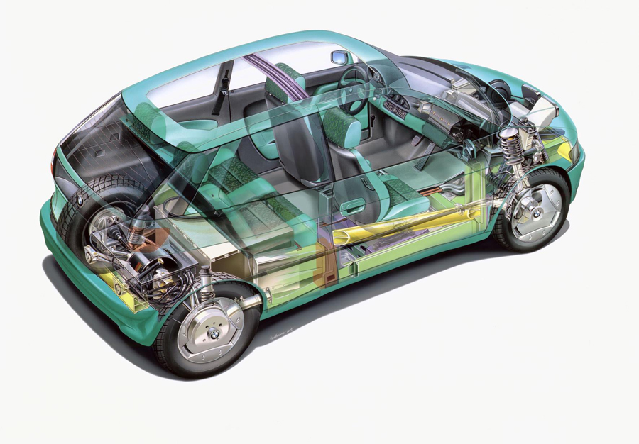 El BMW E1 estrenaba la disposición de las baterías bajo los asientos traseros y el motor sobre el eje.