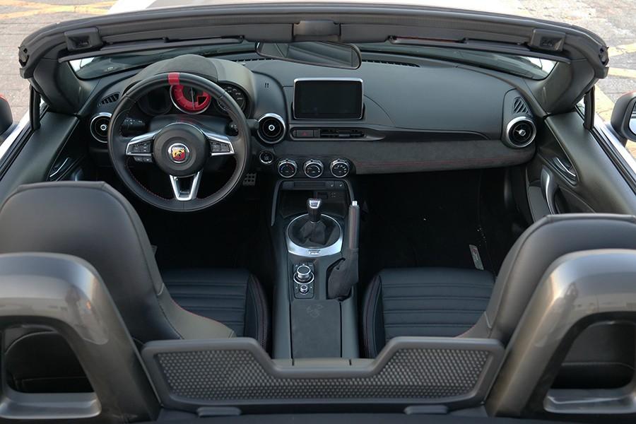 El interior es idéntico al Mazda salvo por la piel vuelta y el logo del volante.