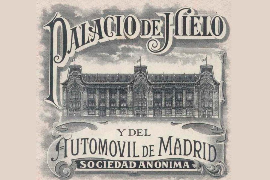 Papel de una acción para el sufragio del edificio del Palacio de Hielo.