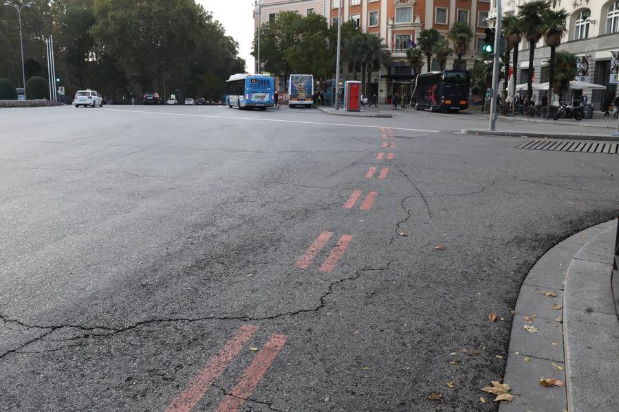 Estás líneas rojas marcan el perímetro de Madrid Central.